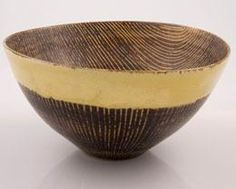 Lucie Rie, flared oval bowl with heavy sgrafitto patination in