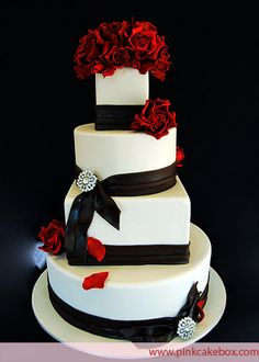 squar, black weddings, color, cake design, ribbon, black white, red roses, wedding cakes, red black