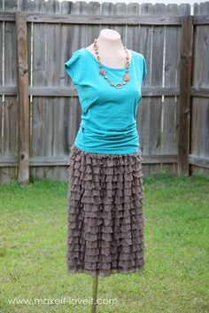Ruffly Skirt from Pre-Ruffled Fabric TUTORIAL. I am SO going back to JoAnn's tomorrow for some of this pre-ruffled fabric! Almost bought some the past 2 times I was there, now wish I had.