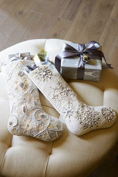 During the holidays, it's all about the accessories. From hand-beaded and embroidered Christmas stockings Z Christmas Time Is Here, Christmas Goodies, Little Christmas, All Things Christmas, Winter Christmas, Christmas Crafts, Christmas Decorations, Christmas Ornaments, Vintage Christmas