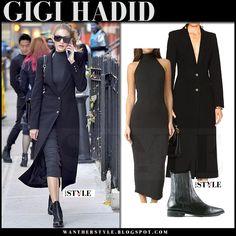 Gigi Hadid in black coat, grey midi rib dress and black ankle boots street style