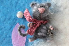 brooch Cat with pink scarf  by UkrainianHouseofArt on Etsy, $29.00