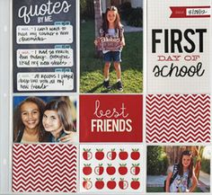 First Day of School Pocket Pages Scrapbook Layout POCKET PAGES Page.  mambi