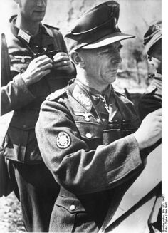 Generalleutnant Walter Stettner Ritter von Grabenhofen of 1.Mountain Division during anti-partisan operations in Montenegro in June 1943. Note the general's woolen winter uniform despite summer temperatures.
