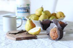 High Protein Pear Vanilla Greek Yogurt Muffins using Genuine Health Fermented Greek Yogurt Proteins+