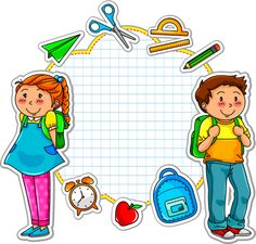 Illustration of school kids and a set of school related items vector art, clipart and stock vectors. Kids Vector, Vector Free, First Day Of School, Back To School, School Kids, School Frame, School Cartoon, School Clipart, Borders For Paper