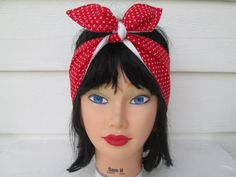 Red polka dot headband Tiny Red and White Love by HandMadeFashions