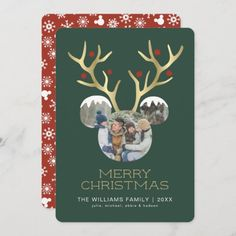 Mickey Mouse Christmas Gold Antlers - Photo Invitation: Mickey Mouse Christmas Gold Antlers - Photo Invitation $2.86 by MickeyAndFriends Christmas Photo Cards, Gold Christmas, Merry Christmas, Mickey Mouse Christmas, Christmas Invitations, Photo Invitations, Antlers, Frame