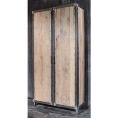 Lovely Schrank mit zwei T ren aus Eichenholz Stahl schwarz Schr nke u Regale