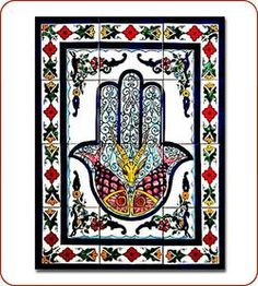 Hamsa, also known as the Hand of Fatima,the hand represents a stop sign toevil spirits. It is commonly believed that both the Hamsa and the colors turquoise & blue are brave defenders against all Evil. The fishes and the gazelle representsea anddesert.