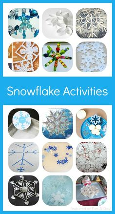 Snowflake activities for kids to try this winter This week�s Share It Saturday features are all about snowflake activities! There are crafts, sensory ideas, and even a treat to make with the kids. These activities are sure to brighten up even the dreariest winter day.