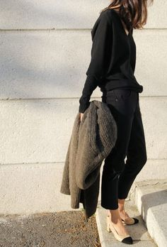 Black v-neck sweater, cropped black jeans, moss green cardigan & beige black capped toe court shoes | @styleminimalism
