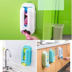 Home Useful Wall Mount Plastic Carrier Bag Storage Container Holder Organizer Recycle Box Hot Sale