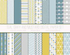 Modern Digital Paper, Geometric Pattern, Geometric Digital Background, Scrapbook Paper, Printable Paper, Web Design, Teal Gray Mustard