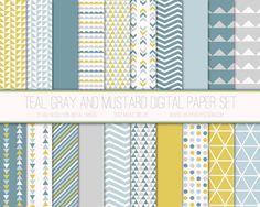 Papier numérique moderne, motif géométrique, fond Digital géométrique, papier Scrapbook, imprimable, Web Design, moutarde gris bleu sarcelle