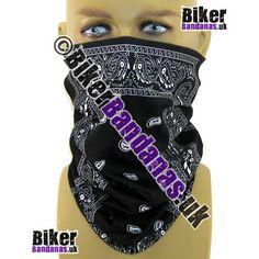 Black Paisley Border Panel Multifunctional Headwear / Neck Tube Bandana for Men and Women