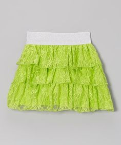 Love this Green Floral Lace Tiered Ruffle Skirt by Cutie Patootie on #zulily! #zulilyfinds