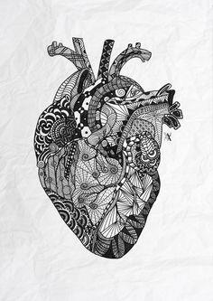 心臓のようなデザインのゼンタングル