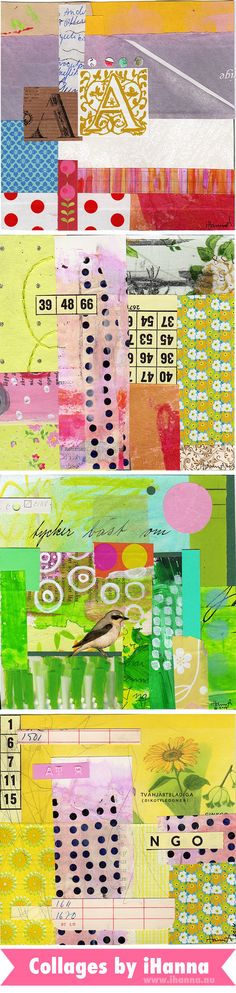 Four artworks for spring by collage artist iHanna of www.ihanna.nu - April 2014 #collage