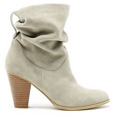Sole Society Tularosa Slouchy Heeled Bootie ($110) ❤ liked on Polyvore featuring shoes, boots, ankle booties, fennel, leather boots, short cowgirl boots, high heel booties, high heel ankle boots and slouchy ankle boots