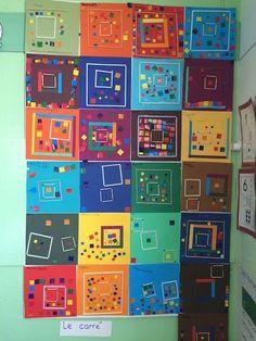 the square - Preschool-Kindergarten Kindergarten Art, Preschool Art, School Art Projects, Art School, Ecole Art, Square Art, Math Art, Collaborative Art, Elements Of Art