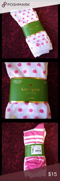 NWT Kate Spade NY 3 pair pack of socks Cute, fun, and sassy NWT Kate Spade New York socks. Perfect for any closet! Pink and white with assorted designs, polka dots and stripes. Each sock features Kate Spade signature spade. Bundle and save. Happy poshing! kate spade Accessories Hosiery & Socks