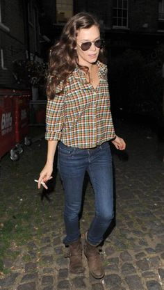 check shirt (swingish, sit on waist), dark blue skinny jeans, brown heel ankle boots, Hair - curly w/ side clipped back