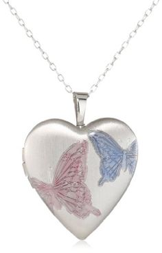 Momento Lockets Sterling Silver Heart Shaped Butterfly Locket Necklace