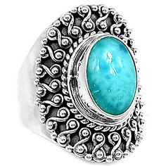 Larimar-Dominican-Republic-925-Sterling-Silver-Ring-Jewelry-s8-LRIR2110