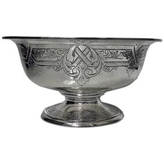 View this item and discover similar for sale at - Fine large Gorham American Sterling Silver Bowl, The 'hammered' design Bowl on round pedestal base with moulded rim, the body and base with embossed Rare Antique, Antique Silver, Gorham Sterling, Sterling Silver, Ladies Lunch, Decorative Objects, Silver Plate, Modern Furniture, Tableware