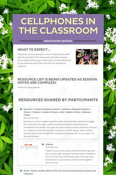 Cellphones in the Classroom - Uses of Mobile Devices in the classroom Smore page from #AETC2013