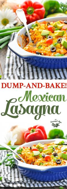 This Dump-and-Bake Mexican Lasagna is an easy dinner recipe that cooks in one dish! Chicken Recipes | Casserole Recipes | Mexican Food Recipes | Lasagna Recipe Easy