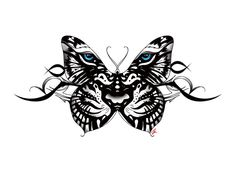 Blue Eyes Tiger Face In Butterfly Tattoo Design