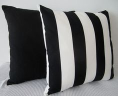 Black and white stripes cushion cover contemporary by miaandstitch, $25.00