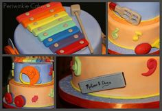 Cute musical instruments cake