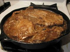Ingredients 4 bone-in pork chops 1 oz packet onion soup mix 1 14 oz can chicken broth, low sodium 1 oz can cream of chicken soup, low sodium 1 oz packet dry pork gravy mix 1 tsp garlic powder To thicken Thin Pork Chops, Tender Pork Chops, Pork Gravy, Pork Chops And Gravy, Onion Gravy, Slow Cooker Pork, Slow Cooker Recipes, Crockpot Recipes, Crockpot Dishes