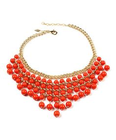 This Coral & Gold Gypsy Bib Necklace by Amrita Singh is perfect! Fashion Jewelry Necklaces, Jewelry Box, Jewelery, Indian Necklace, Amrita Singh, Coral And Gold, Drop Necklace, Bangles, Bling