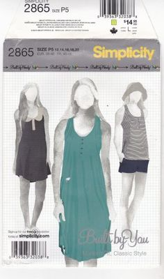 Dress or top for knit fabrics. Simplicity 2865 uncut 12 14 16 18 20 Knit Dress Mini Dress Top Built by You