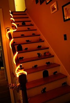 Halloween Party: If only I had stairs, could do it on the front porch though. This is another great idea of fun crafty holiday decorations I am excited about doing. It would look good with my toole skirt that I'm being for a witch! How fun! Yay!