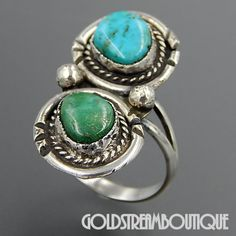 Native American Vintage Navajo Sterling Silver Green & Blue Turquoise Two Stone Elongated Ring - Size 7