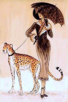Dupre, Karen - Cheetah Walking w Woman