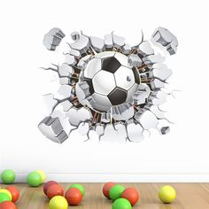 3D Football Background Wall Sticker Home Decor Removable Stickers Bedroom Sticker Home Decoration adesivo de parededs mural art >>> Check out the image by visiting the link. #HomeDecor