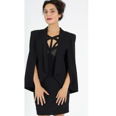 Cape Sleeve Blazer Ultra-modern, femme, and glam. A demure cape blazer that fits perfectly over the shoulders with subtly tacked slits, so it won't fall off. James Jeans Jackets & Coats Capes