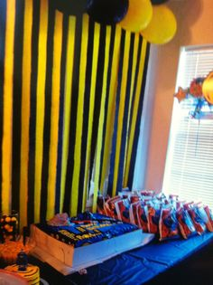 Batman Birthday Party... great idea on the black and yellow streamers