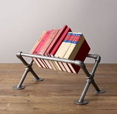 Industrial Pipe Tabletop Book Storage -Small Would be cool in my studio