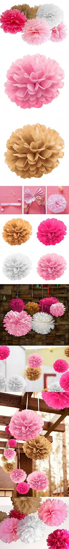 """Tissue Paper Pom Poms by Atmos - 20PCS - 8"""" 10"""" 14"""" - 4 Colors Dark & Light Pink, White, Gold, Hanging Flower Ball - Wedding, Birthday, Baby, Bridal Shower, Room decor & Party Decoration"""