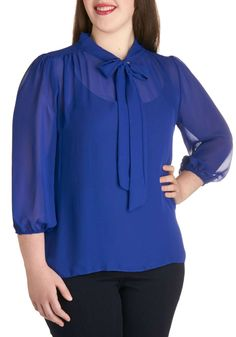 ModCloth Sheer Bliss Top in Cobalt - Plus Size #womens #plus-size #blue #polyester #top #love #wantering