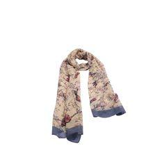 Echarpe Mini Flores Passarinho Amarelo de Algodão #echarpes #lenços #lenço #scarf #scarfs