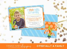 O'FISH-ally A Family  Adoption Party Invitation by paperandbliss