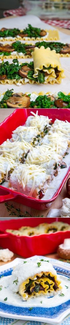 Roulade de lasagne aux épinards, ricotta et champignons sauté